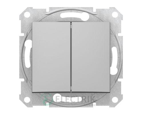 Выключатель двухклавишный проходной, алюминий, Sedna SDN0600160
