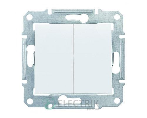 Выключатель двухклавишный проходной, белый, Sedna SDN0600121