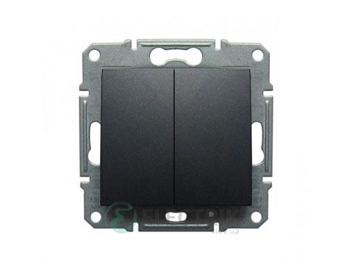 Выключатель двухклавишный проходной, графит, Sedna SDN0600170