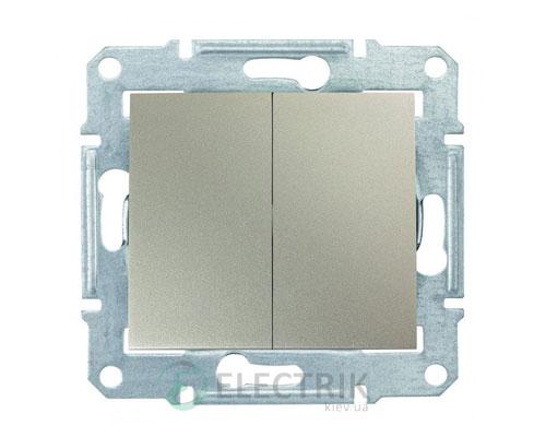 Выключатель двухклавишный проходной, титан, Sedna SDN0600168