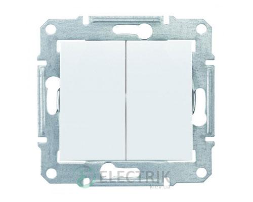 Выключатель двухклавишный, белый, Sedna SDN0300121