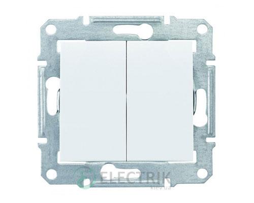 Выключатель двухклавишный IP44, белый, Sedna SDN0300421