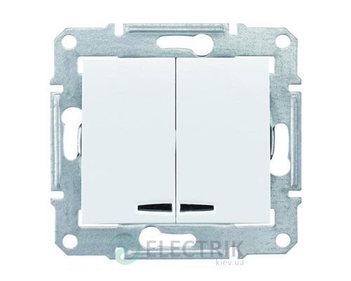Выключатель двухклавишный с синей подсветкой, белый, Sedna SDN0300321