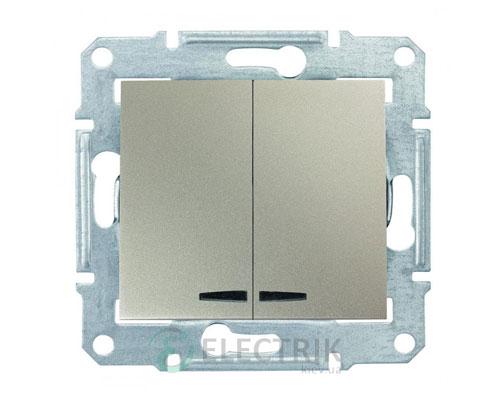 Выключатель двухклавишный с синей подсветкой, титан, Sedna SDN0300368