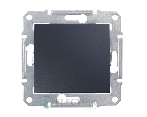 Выключатель одноклавишный двухполюсный, графит, Sedna SDN0200170