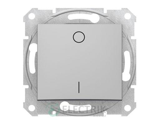Выключатель одноклавишный двухполюсный, 16А, алюминий, Sedna SDN0200260