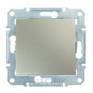 Выключатель одноклавишный двухполюсный, 16А, титан, Sedna SDN0200268
