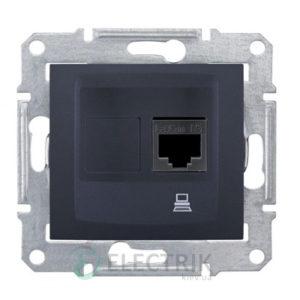 Розетка компьютерная RJ45, кат.5е, STP, графит, Sedna SDN4500170
