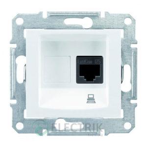 Розетка компьютерная RJ45, кат.5е, UTP, белый, Sedna SDN4300121