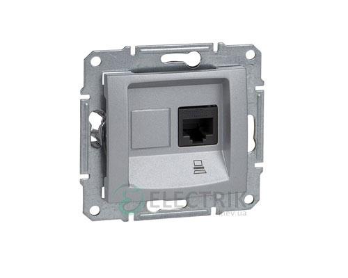 Розетка компьютерная RJ45, кат.6, UTP, алюминий, Sedna SDN4700160