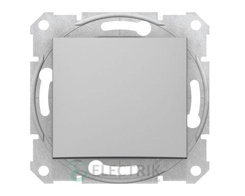 Выключатель одноклавишный кнопочный, алюминий, Sedna SDN0700160