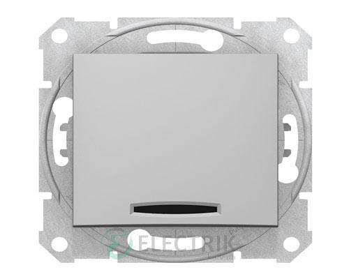 Выключатель одноклавишный кнопочный с синей подсветкой, алюминий, Sedna SDN1600160