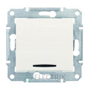 Выключатель одноклавишный кнопочный с синей подсветкой, слоновая кость, Sedna SDN1600123