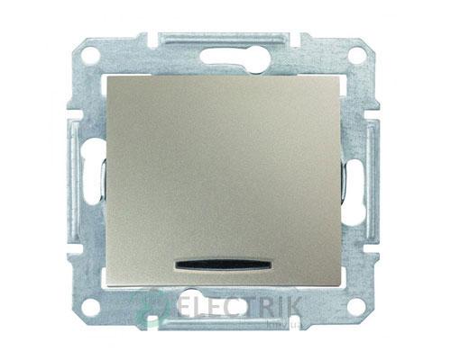 Выключатель одноклавишный кнопочный с синей подсветкой, титан, Sedna SDN1600168