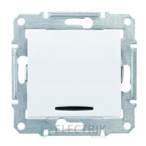 Выключатель одноклавишный перекрестный с синей подсветкой, белый, Sedna SDN0501121