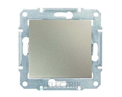 Выключатель одноклавишный проходной, 16А, титан, Sedna SDN0400468