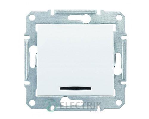 Выключатель одноклавишный проходной с синей подсветкой, 16A, белый, Sedna SDN1500221