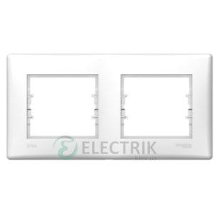 Рамка 2-постовая горизонтальная IP44, белая, Sedna SDN5810621