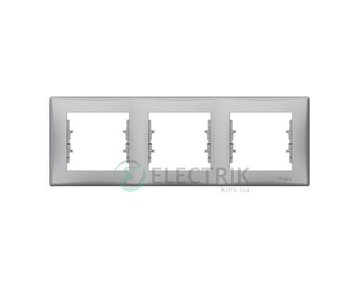 Рамка 3-постовая горизонтальная, алюминий, Sedna SDN5800560