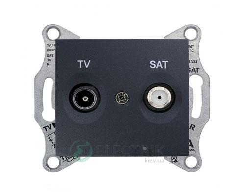 Розетка ТV/SAT оконечная, 1 dB, графит, Sedna SDN3401670