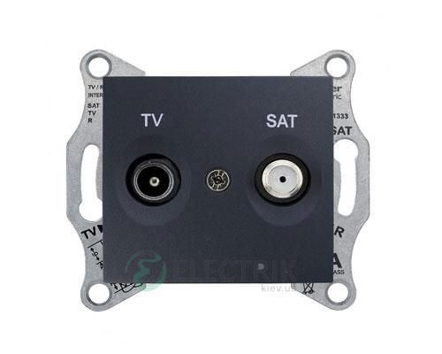 Розетка ТV/SAT проходная, 4 dB, графит, Sedna SDN3401970