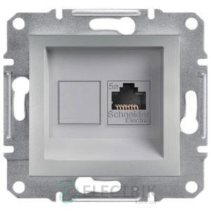 Розетка компьютерная, RJ45, кат.5е, UTP алюминий, Asfora EPH4300161