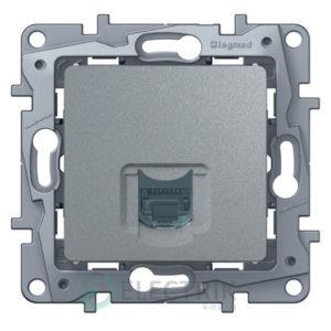 Розетка компьютерная RJ45 кат.6 UTP, алюминий Legrand Etika