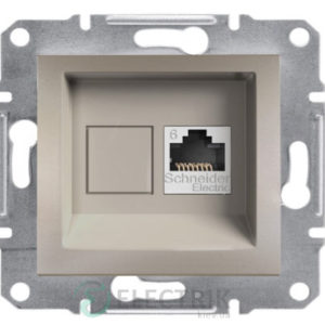 Розетка компьютерная, RJ45, кат.6, UTP бронза, Asfora EPH4700169