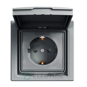 Розетка с заземлением, с крышкой и шторками IP44, сталь, Asfora EPH3100362