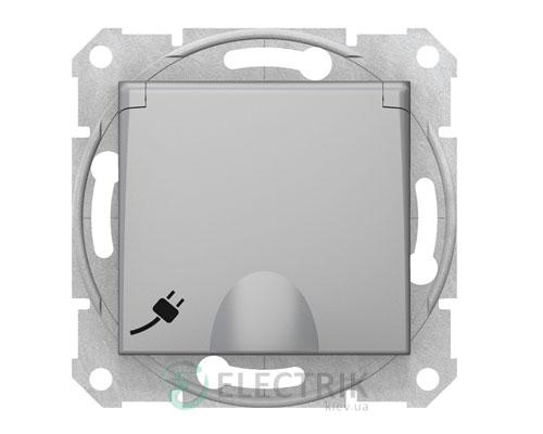 Розетка с заземлением, защитными шторками и крышкой, алюминий, Sedna SDN31000160