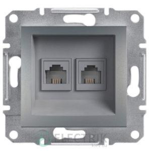 Розетка телефонная, RJ11, 4 контакта, двойная сталь, Asfora EPH4200162