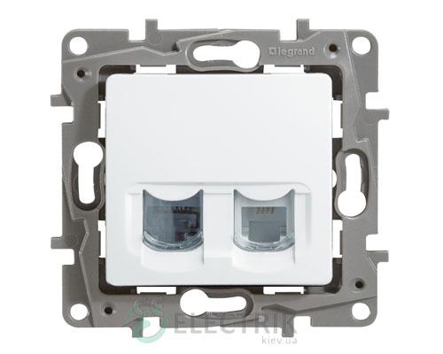 Розетка телефонная и компьютерная (RJ11 + RJ45 кат.5 UTP), 2-гнезда, белый Legrand Etika