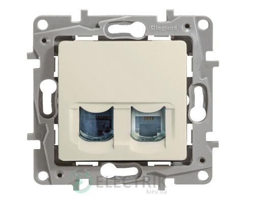 Розетка телефонная и компьютерная (RJ11 + RJ45 кат.5 UTP), слоновая кость (крем) Legrand Etika