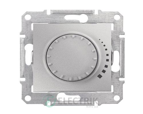 Светорегулятор проходной, поворотно-нажимной индуктивный, алюминий, Sedna SDN2200560