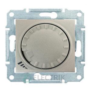Светорегулятор проходной поворотно-нажимной универсальный, титан, Sedna SDN2201168