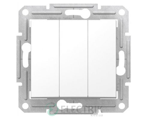 Выключатель трехклавишный, белый, Sedna SDN0300621