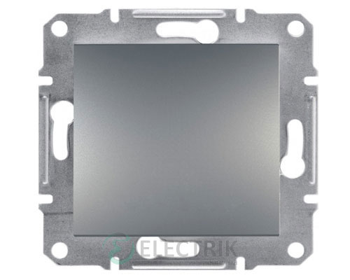 Выключатель одноклавишный двухполюсный, сталь, Asfora EPH0200162
