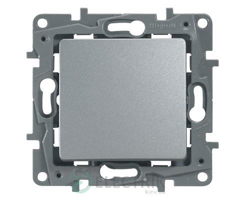 Выключатель 1-клавишный проходной, алюминий Legrand Etika