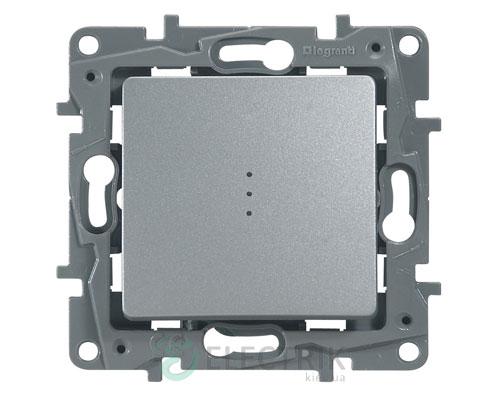 Выключатель 1-клавишный проходной с подсветкой, алюминий Legrand Etika