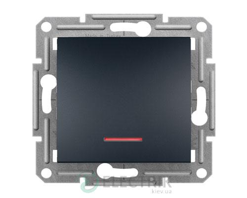 Выключатель одноклавишный проходной с подсветкой, антрацит, Asfora EPH1500171