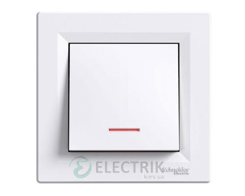 Выключатель одноклавишный проходной с подсветкой, белый, Asfora EPH1500121