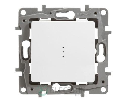 Выключатель 1-клавишный проходной с подсветкой, белый Legrand Etika