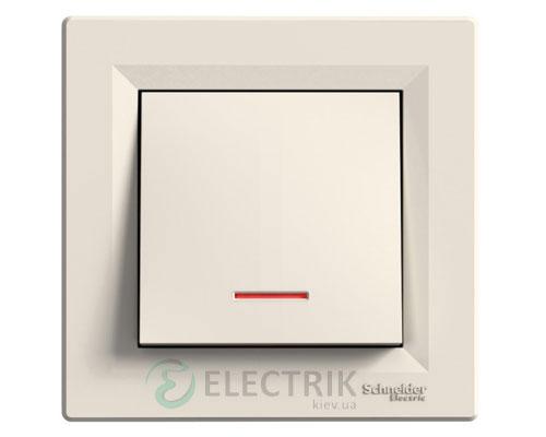 Выключатель одноклавишный проходной с подсветкой, крем, Asfora EPH1500123