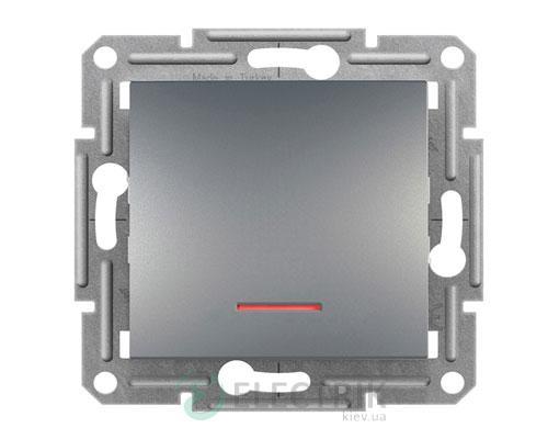 Выключатель одноклавишный проходной с подсветкой, сталь, Asfora EPH1500162