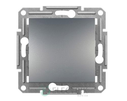 Выключатель одноклавишный проходной, сталь, Asfora EPH04100162