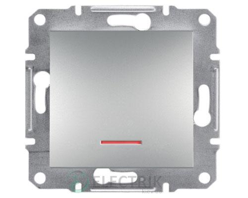 Выключатель одноклавишный с подсветкой, алюминий Asfora EPH1400161