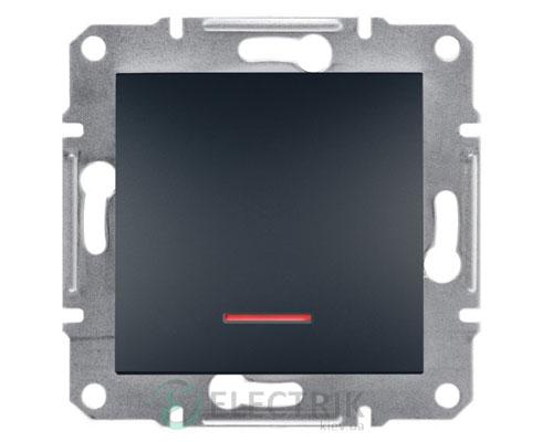 Выключатель одноклавишный с подсветкой, антрацит, Asfora EPH1400171