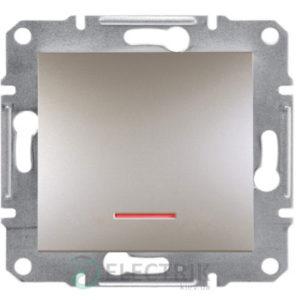 Выключатель одноклавишный с подсветкой, бронза, Asfora EPH1400169