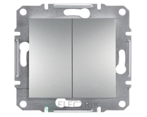 Выключатель двухклавишный, алюминий Asfora EPH0300161