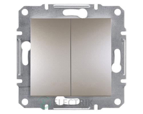 Выключатель двухклавишный, бронза, Asfora EPH0300169